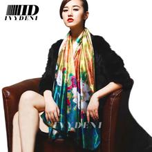 Brand Silk Satin Scarf 2016 Spring New Floral Print Women Designer Scarfs Winter Polyester Infinity Long Silk Scarves For Women(China (Mainland))