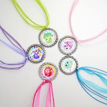 2016 New Wholesale Shopkins 5 Colors Ribbon Chain Bottle Cap Necklace, Shopkins Pendant Baby Necklace, 5pcs(China (Mainland))