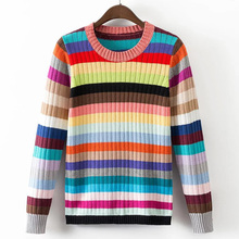 2016 Women casual thin rainbow striped sweater(China (Mainland))