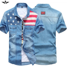 Men Fashion Shirt Short Sleeve Shirt Men Printed&Striped Shirts Casual Slim Fit Camisa Jeans Masculina Male Denim Shirt