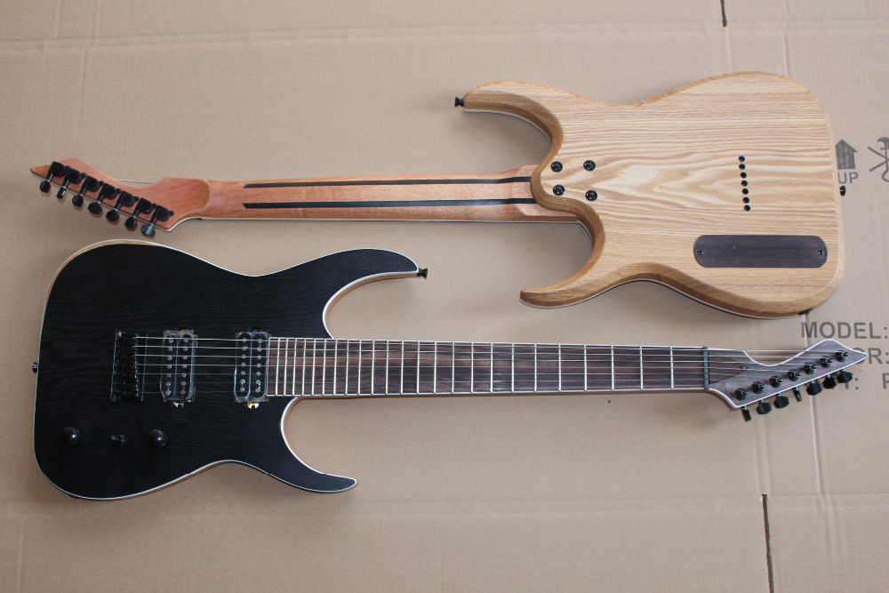 HOT!!!TOP High Quality Custom Factory Ash Body Natural Wood B7 Special Shape 7 Strings Electric Guitar 1 piece(China (Mainland))