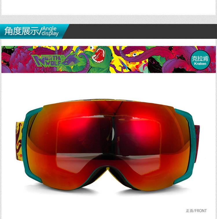 New green framework discount ski goggles unisex skiing and snowboarding ski goggles helmet goggles double lens anti-fog(China (Mainland))