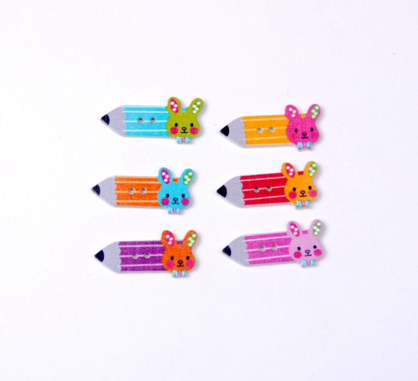 Free shipping -2015 New Random 100pcs Mixed 2 Holes Little Rabbit Pencil Shape Wood Sewing Buttons Scrapbooking 15x33mm J1488(China (Mainland))