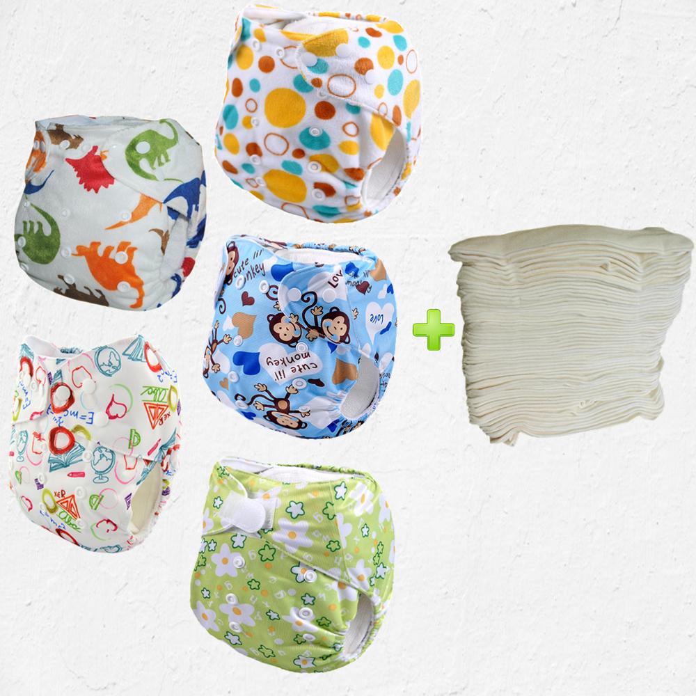 Washable and reusable nappy,waterproof fabric for cloth diapers,waterproof fabric for cloth With 5pcs Bamboo Inserts(5sets)(China (Mainland))