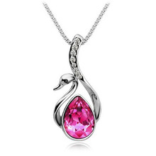 2015 New Hot Silver Plated Jewelry Swan Pendant Statement Necklace Crystal Fine Jewelry