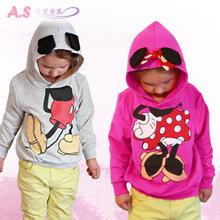 Retail 2015 baby clothing children Boy Girls sweater Hoodies Mickey Minnie Sweatshirts Mouse Cartoon Top Kids coat(China (Mainland))