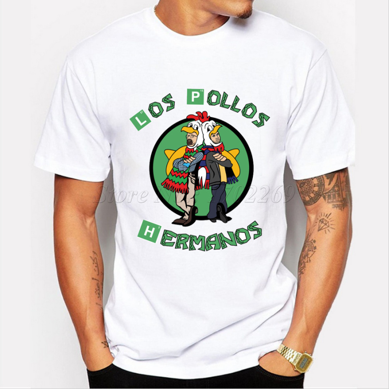 Men s Fashion Breaking Bad Shirt 2015 LOS POLLOS Hermanos T Shirt Chicken Brothers Short Sleeve