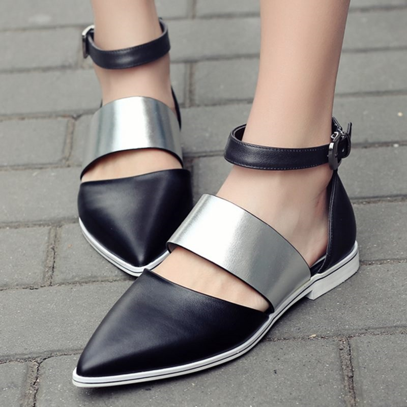 Hot Selling Women Calfskin white orange black Pointed Toe Buckle Strap Flat Shoes,Genuine Leather Flats <br><br>Aliexpress