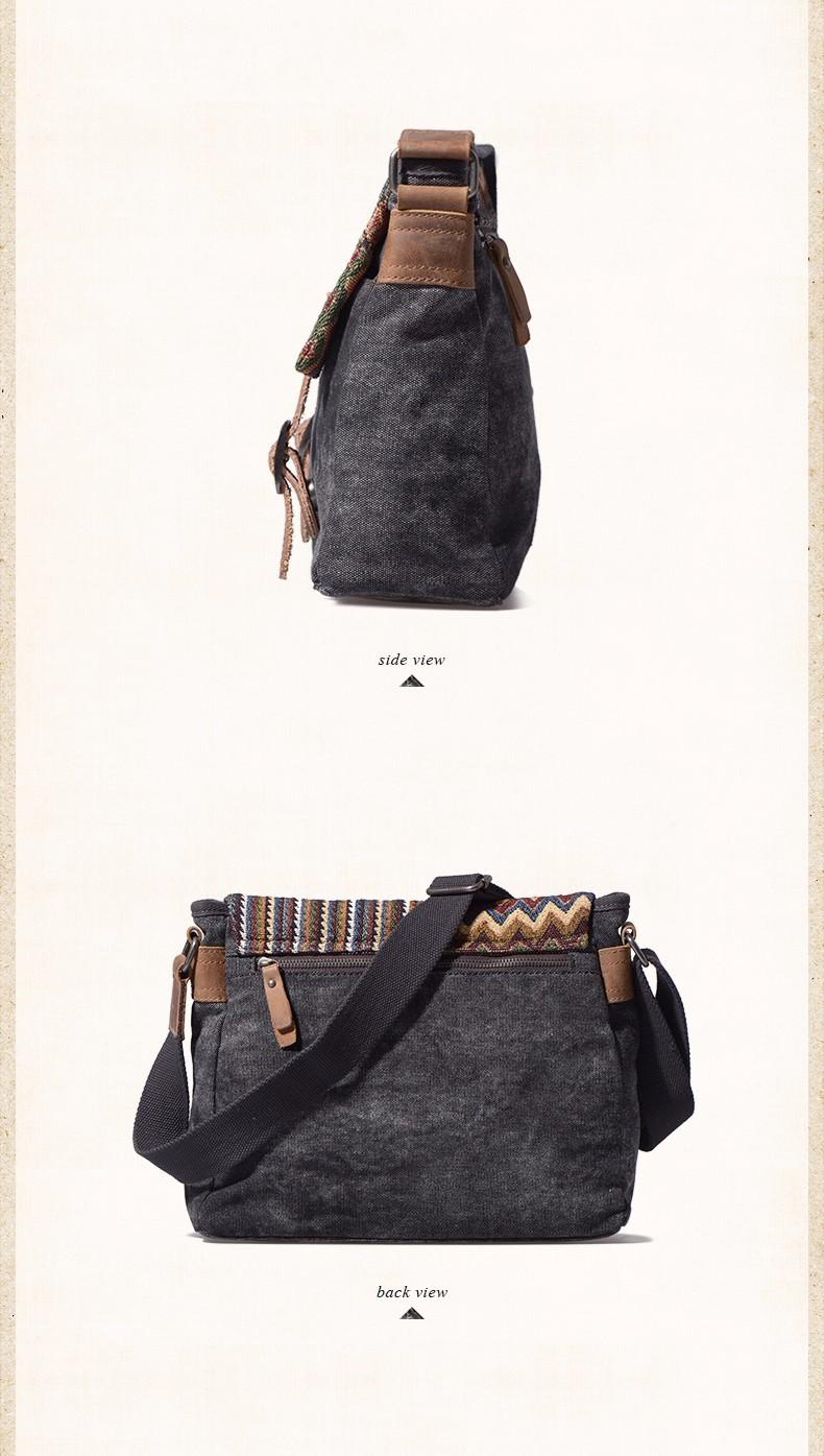 UNISOUL Original Canvas Man Travel Bag National Totem Bag Fashion Men Messenger Bag Handbags