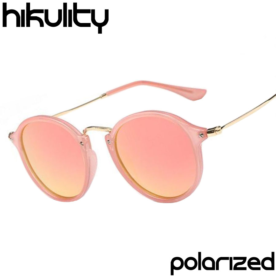 Brand Italy Design Luxury Fashion Polarized HD Rose Gold Pink Tint Round Super Star Sun Glass Circle Sunglasses for Men or Women(China (Mainland))