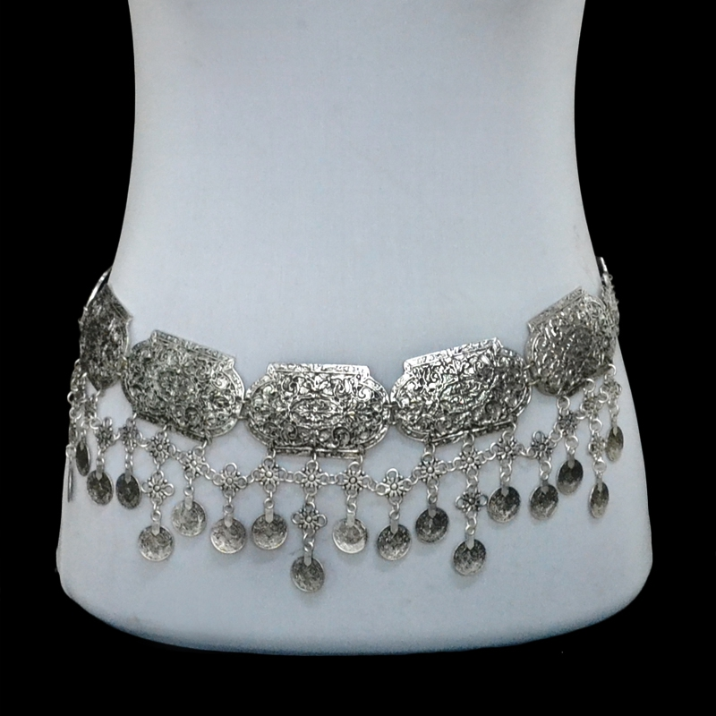 New Fashion Vintage Silver Plated Waist Chain Turkish Gypsy Alloy Coin Belly Body Chain Women Belt Jewelry(China (Mainland))