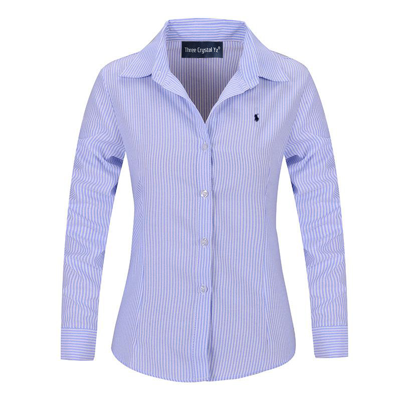 Classical Women Polo Striped Shirt 2016 Lady Fashion Long ...