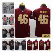 Signature youth Washington Redskins children 44 John Riggins 11 DeSean Jackson 91 Ryan Kerrigan Embroidery Logos size S to XL(China (Mainland))