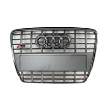 A6 S6 Style Chrome Frame Gray Grill Front Bumper Middle Mesh Grille For Audi A6 S6 2005-2011 With Chrome Emblem(China (Mainland))