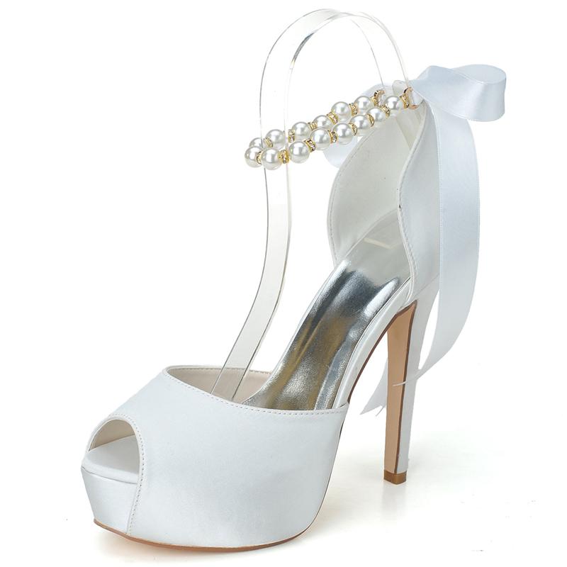 Elegant ladies high-heeled shoes peep toe ankle strap pearls pumps stiletto platform wedding party prom heels white ivory bridal<br><br>Aliexpress