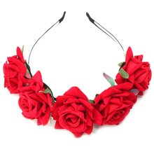 New Flower Garland Floral Bride Headband Hairband Wedding Party Prom Festival Decor Princess Floral Wreath Headpiece QB678647(China (Mainland))