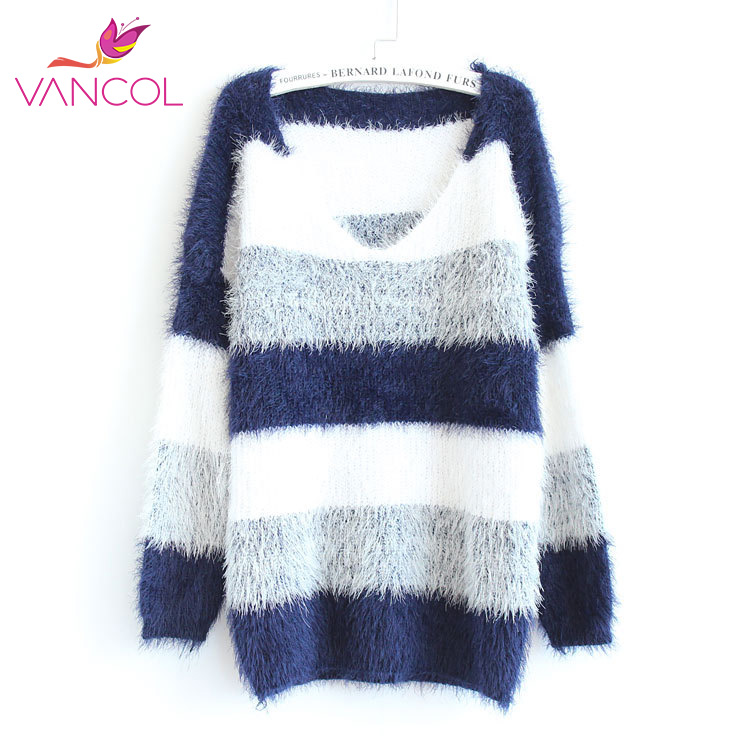 2016 Spring Fashion Pullover Crochet Sweater Casual Oversize Knitted Sweater Plus Size Tops Knitted Jumper Women Striped Sweater(China (Mainland))