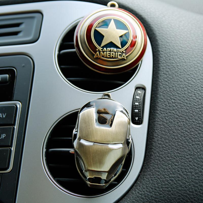 2016 New Iron Man Captain America shield Car outlet perfume original auto perfumes Air Freshener Car Air Conditioning Vent Clip(China (Mainland))