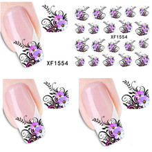 1 sheet Purple Flower Design Nail Decals Water Transfer Stickers Manicure Nail Beauty Wraps Decorations DIY Nail Tools#XF1554