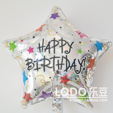 1 pcs Balloons anagram Aluminum Foil Balloon five-pointed Star Printed Happy Birthday 18 inch Big size 42*42cm(China (Mainland))
