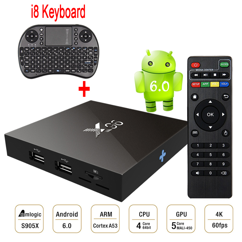 Amlogic S905X X96 Android 6.0 Tv Box 2GB Ram 16GB Rom Quad Core Smart Media Player H.265 4K 2K WiFi+i8 Mini Wireless Keyboard(China (Mainland))