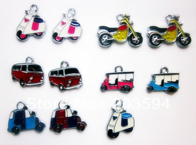 M7849 Wholesale 100Pcs/Lots mixed Enamel Alloy Transport Charms Pendant Diy bike an car charms Mobile phone Accessories(China (Mainland))