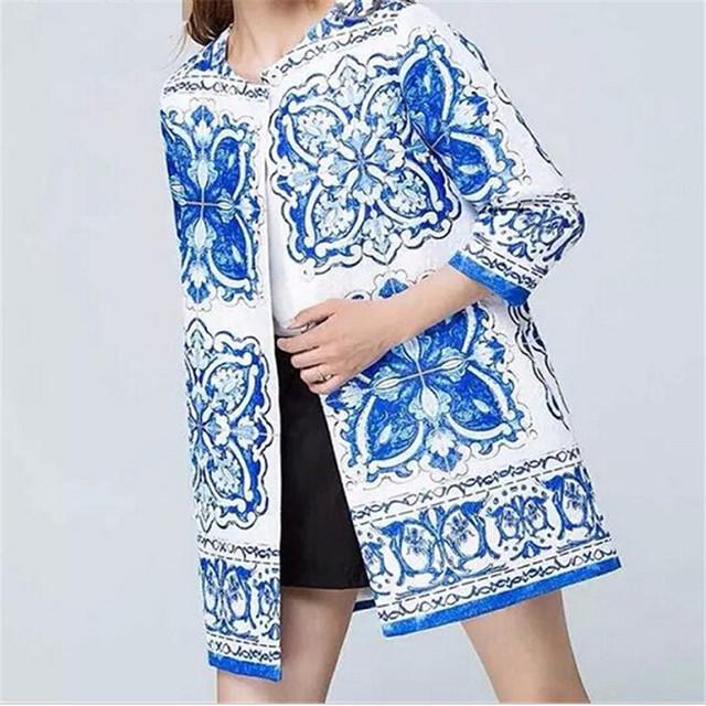 Женщины весна осень тотем печати длинные пальто старинные О-Образным Вырезом с длинным ...
