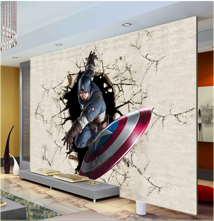 3d view wallpaper captain america photo wallpaper silk for Mural art designs for bedroom