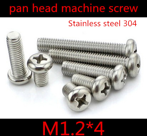 100pcs/lot DIN7985 M1.2*4 Stainless Steel 304 Pan Round Head Phillips (Cross recessed pan head) Screw<br><br>Aliexpress