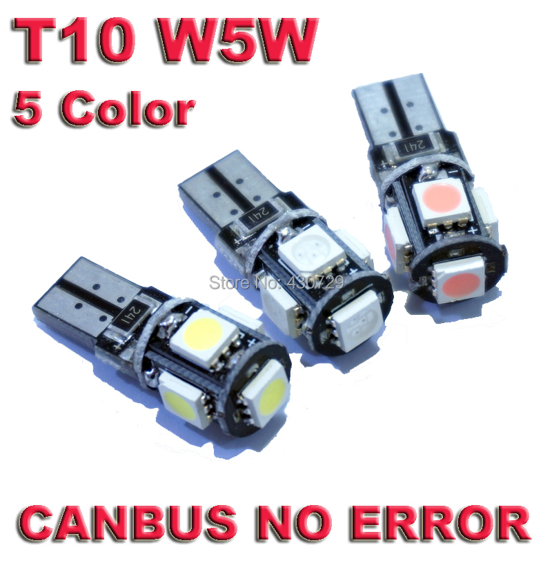 10pcs/lot T10 5 smd 5050 led Canbus Error Free Car Lights W5W 194 5SMD LIGHT BULBS NO OBC ERROR White Blue Red Pink Green(China (Mainland))