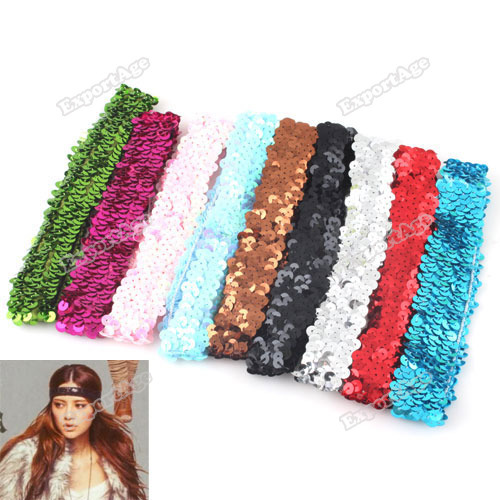 exportage 5 PCS Sparkle Sequin Stretch Headband 1 Team Softball Basketball Volleyball Sports Worldwide free shipping(China (Mainland))