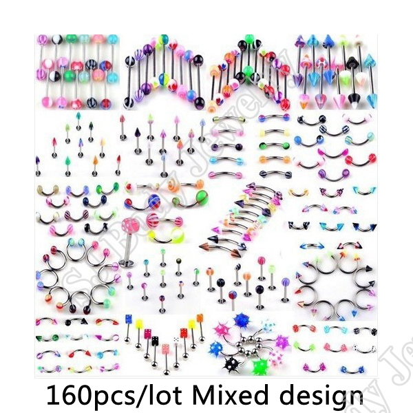 80pcs/set Body Piercing Assorted Mix Lot Kit 14G 16G Ball Spike Curved Sexy-Belly Rings Ear Tongue Pircing Barbell Bars ombligo<br><br>Aliexpress