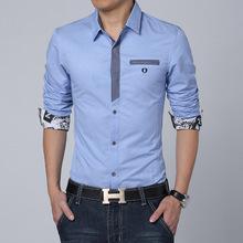 2015 Hot Sale Plus Size 3XL Men Shirt Long Sleeve Casual Denim Shirt For Men Slim Fit Mens Dress Shirts Men Camisas Masculinas(China (Mainland))