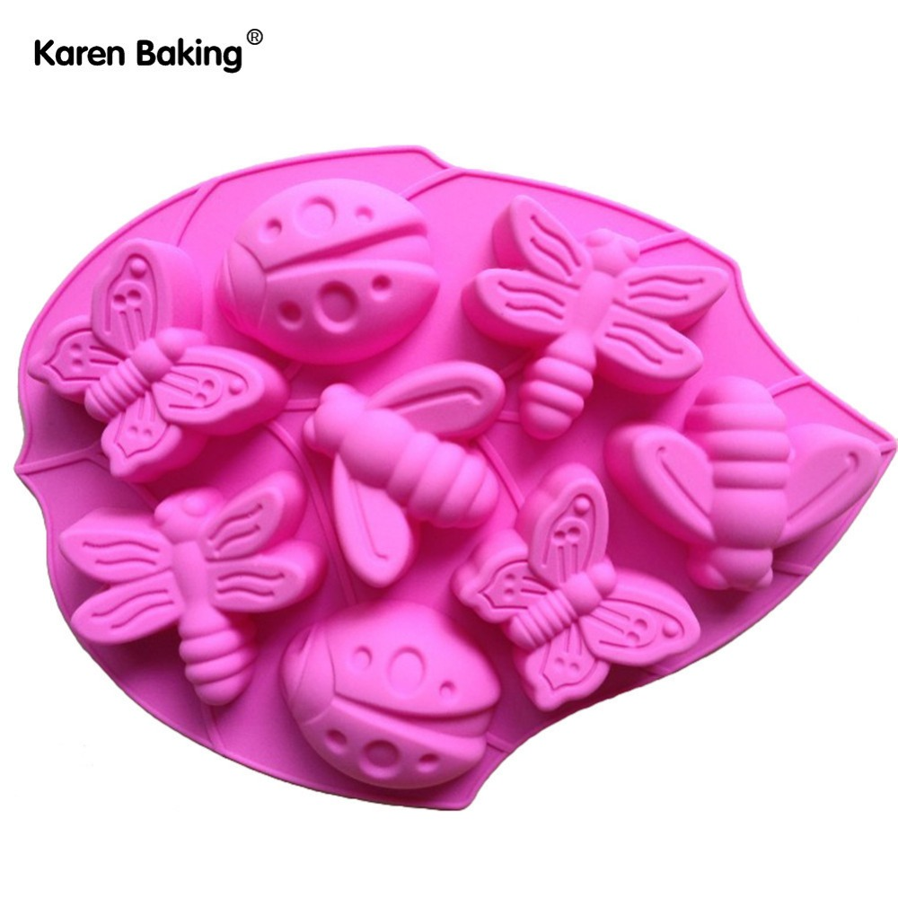 Butterfly Honeybee Type Muffin Sweet Candy Jelly Fondant Cake Chocolate Mold Silicone Tool Baking Pan B028(China (Mainland))