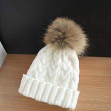 2015 hot winter warm wool knitted crochet hat skull cap cable geniune natural real raccoon fur pom pom beanies for women men(China (Mainland))