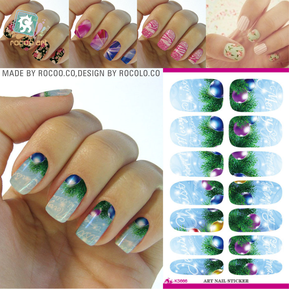 New 2016 Water Transfer Nail Foil Sticker Art Merry Christmas Water Drops Green Plants Gradient Nail Wraps Sticker Decals(China (Mainland))