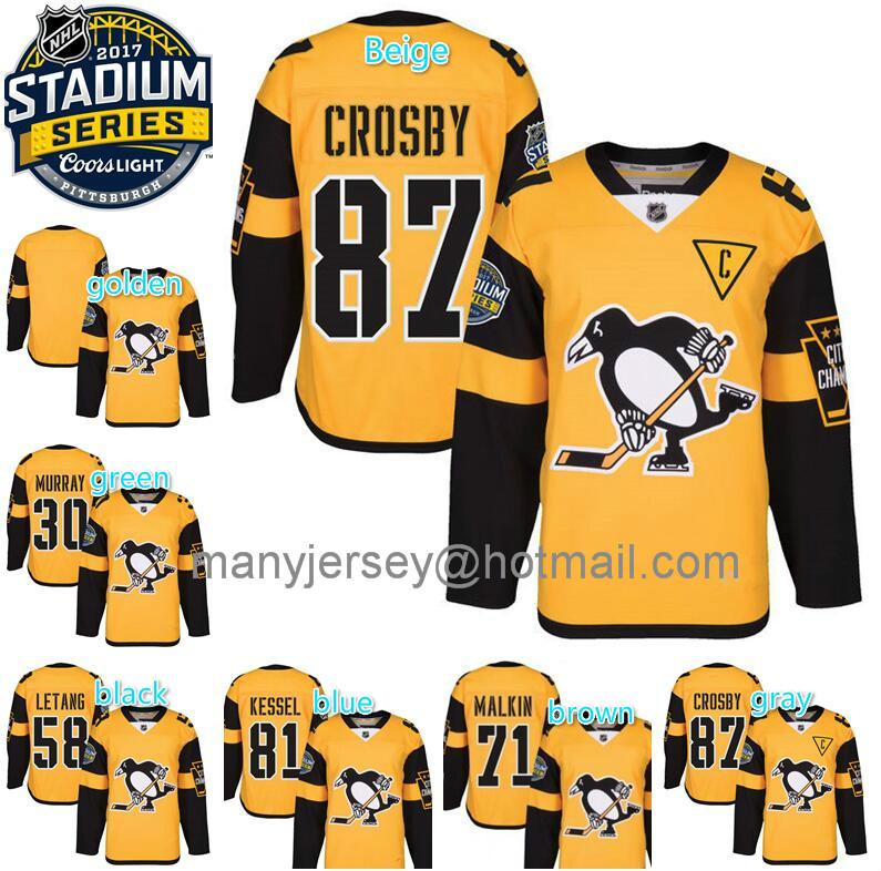 2017 Stadium Series Jerseys 30 Matt Murray 58 Kris Letang 71 Evgeni Malkin 81 Phil Kessel 87 Sidney Crosby Yellow Men's(China (Mainland))