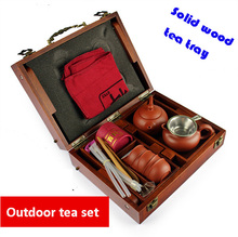 Solid wood tea tray Porcelain yixing purple clay tea cups outdoor travel tea sets gongfu gaiwan set ceramic drinkware