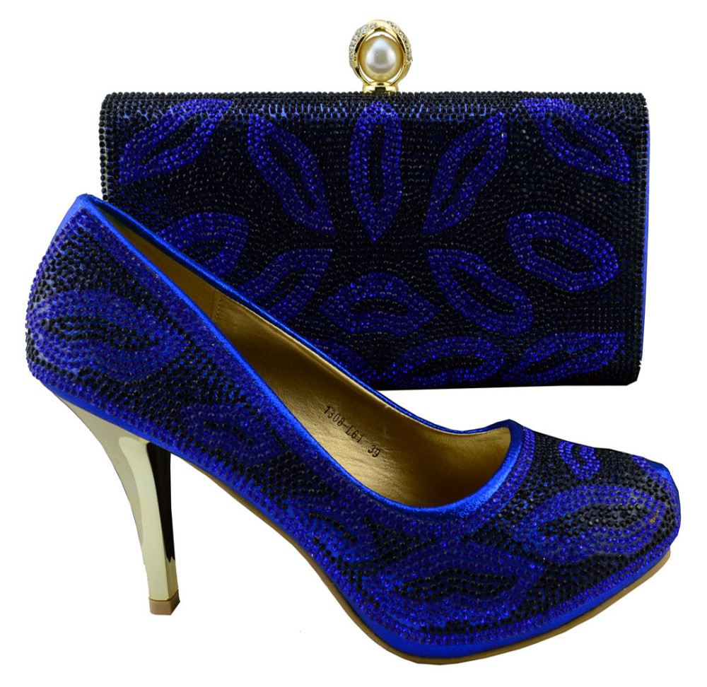 Free shipping,New arrival italian shoes and bags set for woman with dress, PU material for wedding party,1308-L61 Royal blue