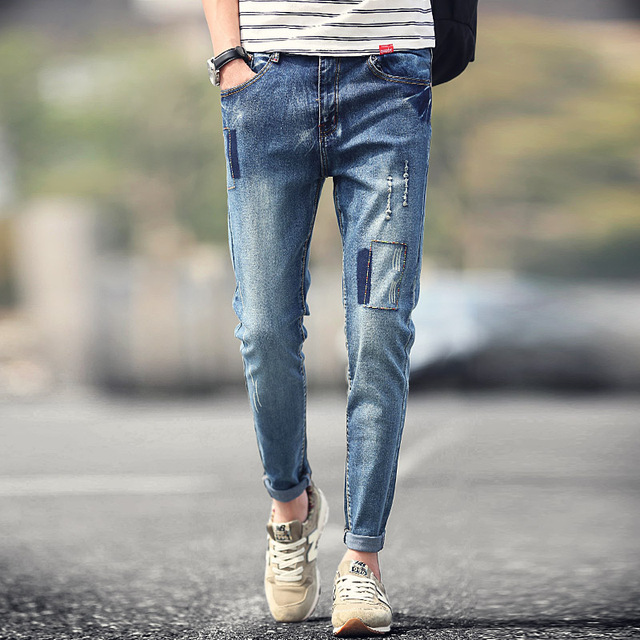 New Fashion 2016 Menu0026#39;s Skinny Jeans Pants Male Ripped Blue Slim Fit Mens Jeans Patchwork Stretch ...