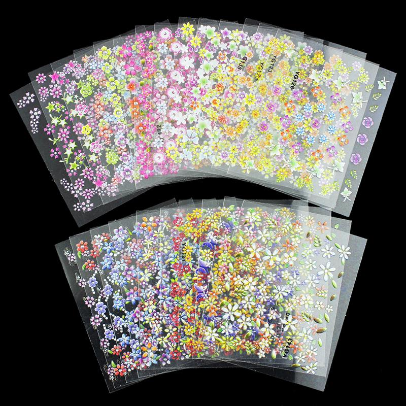 24 Designs Lot Beauty Flowers Nail Stickers 3D Nail Art Decotations Glitter Manicure Diy Tools For