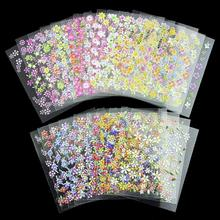 24 Designs/Lot Beauty Flowers Nail Stickers 3D Nail Art Decotations Glitter Manicure Diy Tools For Charms Nails JH158