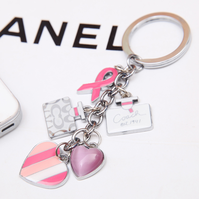 Fashion metal brand luxury keychain bag charm Pink ribbon Heart key ring holder key chain holder men keyrings car PWK0226(China (Mainland))
