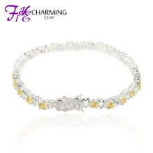 Golden Crystal Peach Heart Bracelets Friendship Bracelets 925 Sterling Silver Bracelets For Women 2015 BR005(China (Mainland))