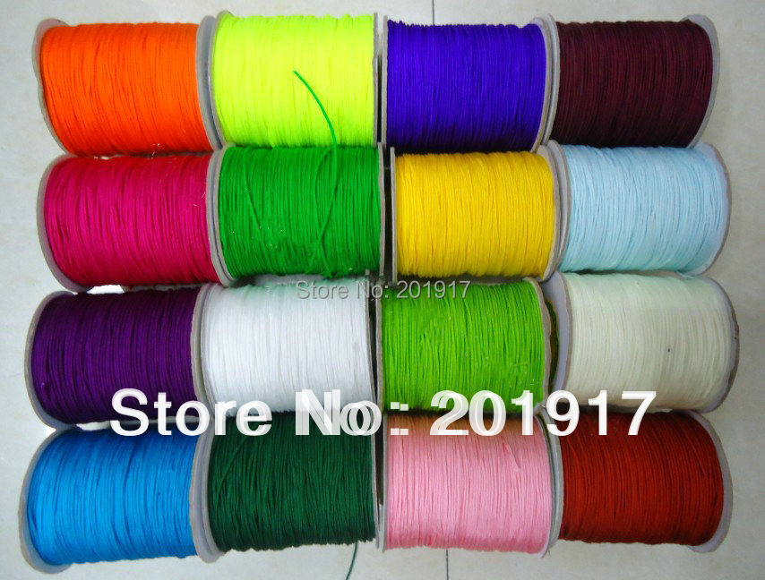 100%Nylon!1mm Macrame Shamballa Braided Rope Cords-Approx 1000m/5rolls(choose for 16colors)Chinese Knot Beading cord-Jewelry DIY<br>