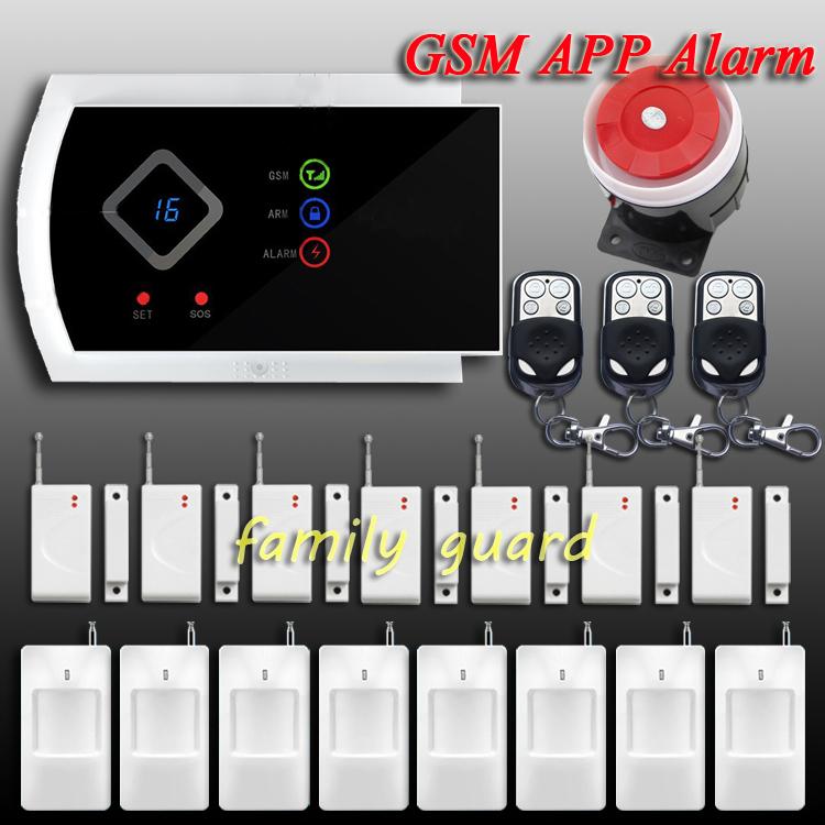 DHL Free Shipping!APP Control 8 pcs PIR+7 Door sensor Remote Controller Wireless GSM SMS for Home Burglar intrude alarm system(China (Mainland))