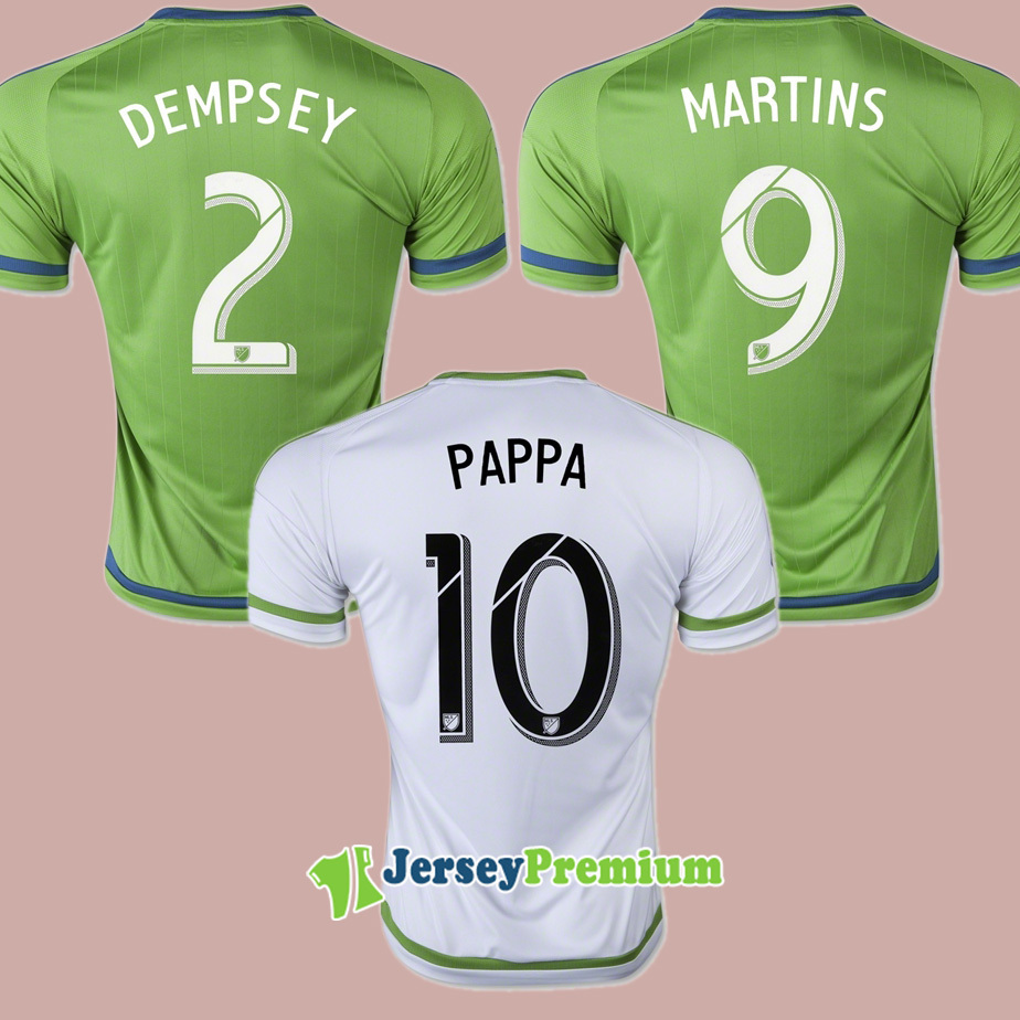2015 MLS Seattle Sounders Home Green Away White DEMPSEY MARTINS Soccer Jerseys Football Shirt PAPPA ALONSO EVANS(China (Mainland))