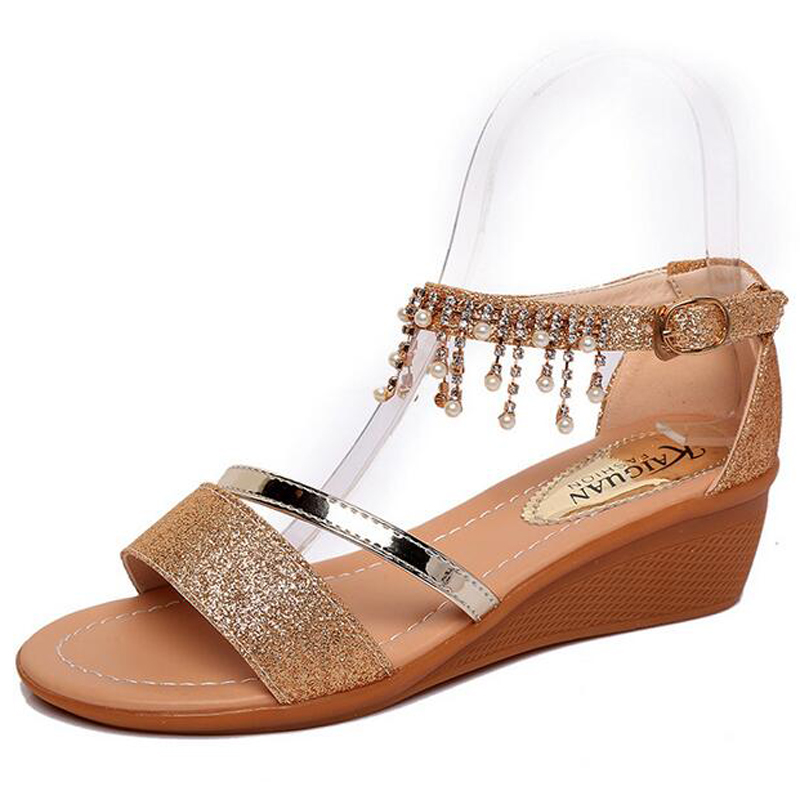 String Bead Bling Tassel Fashion Sandals Wedges Heel Gladiator Sandals Women Casual Summer Shoes S274(China (Mainland))