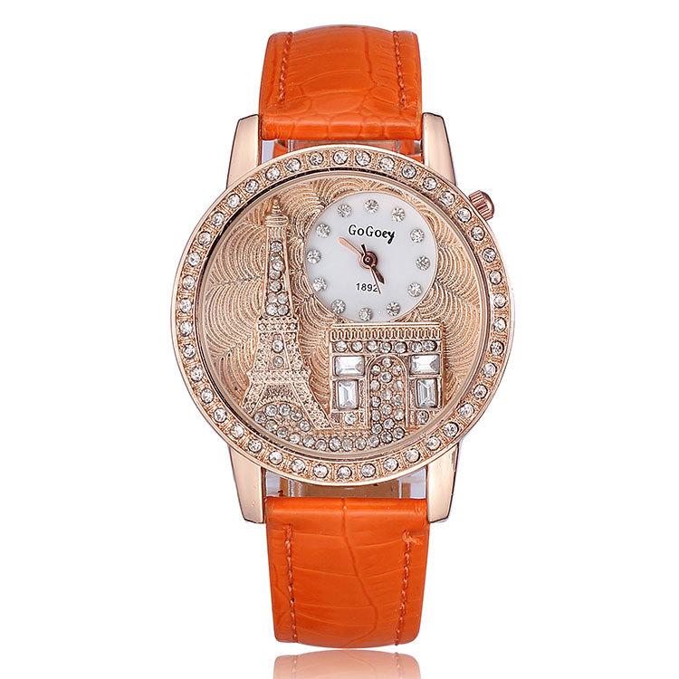 2015 Fashion Eiffel Tower Design Watch Quartz Analog Alloy Big Case Crystal Diamonds Watches Women Leather Strap Wristwatches(China (Mainland))