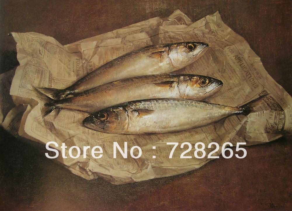 Handainted Modern Still Life High Quality 3pcs Fish Oil